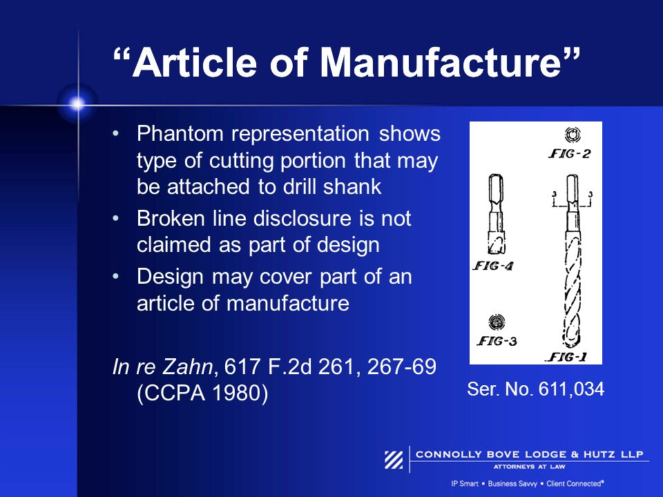 Article of Manufacture Phantom representation shows type of cutting portion that may be attached to drill shank Broken line disclosure is not claimed