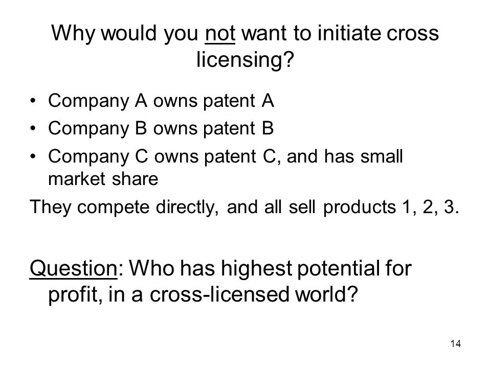 14 Why would you not want to initiate cross licensing.