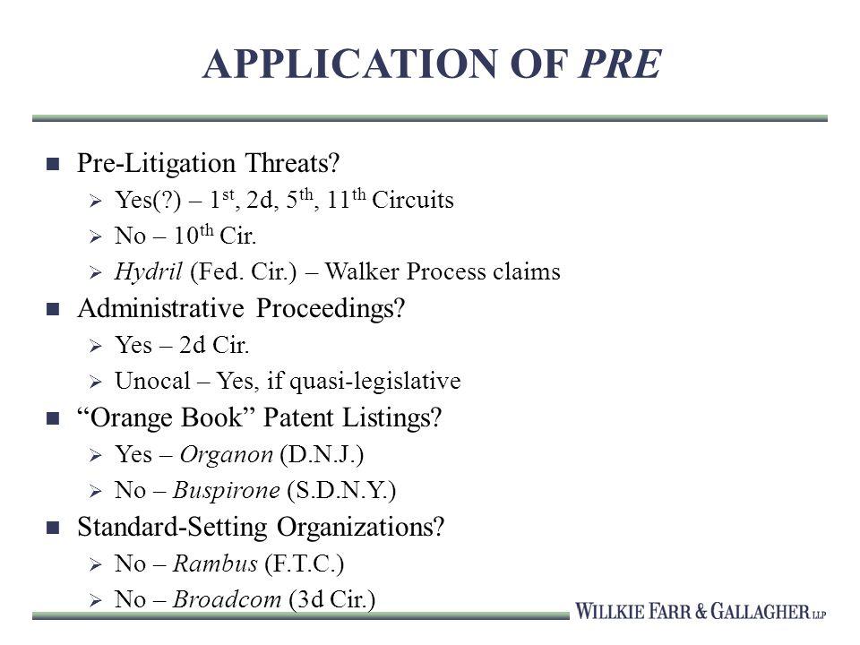 APPLICATION OF PRE Pre-Litigation Threats. Yes( ) – 1 st, 2d, 5 th, 11 th Circuits No – 10 th Cir.