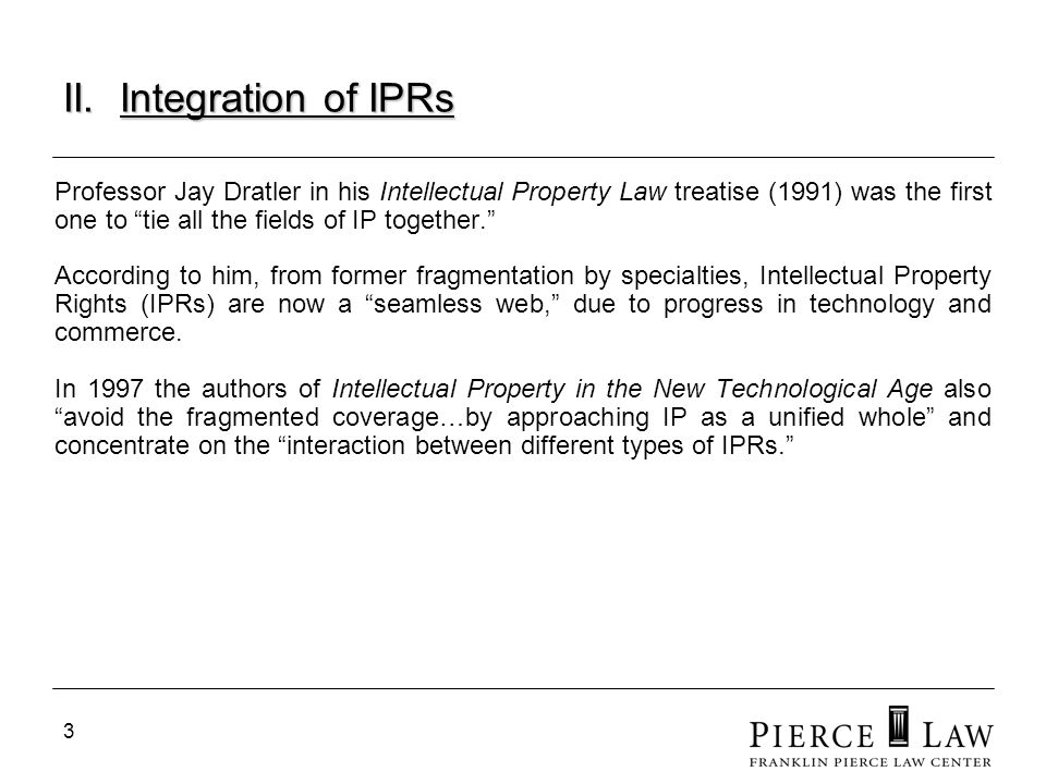 4 Integration of IPRs Integration of IPRs Thus we now have a unified theory in the IP world, a single field of law with subsets and significant overlap between IP fields.