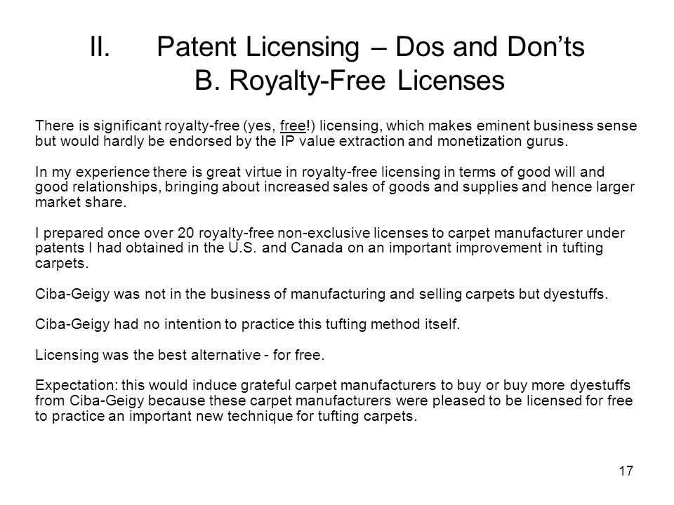 17 II.Patent Licensing – Dos and Donts B.