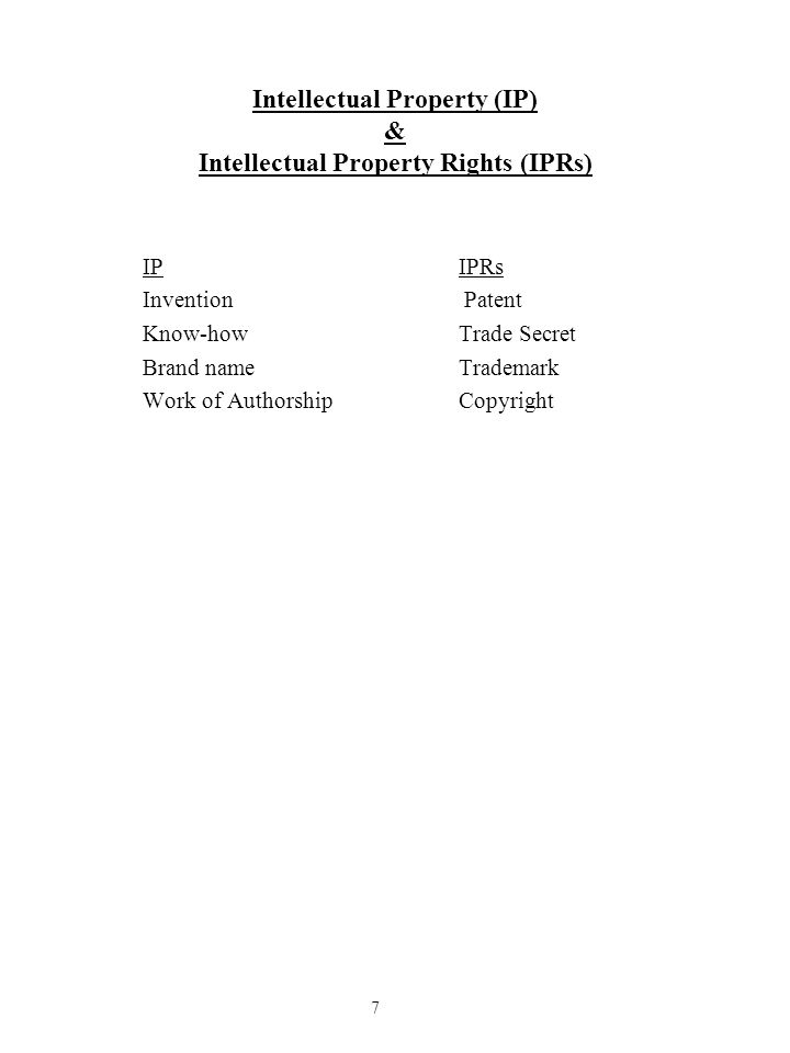 Intellectual Property (IP) & Intellectual Property Rights (IPRs) IPIPRs Invention Patent Know-howTrade Secret Brand name Trademark Work of AuthorshipC