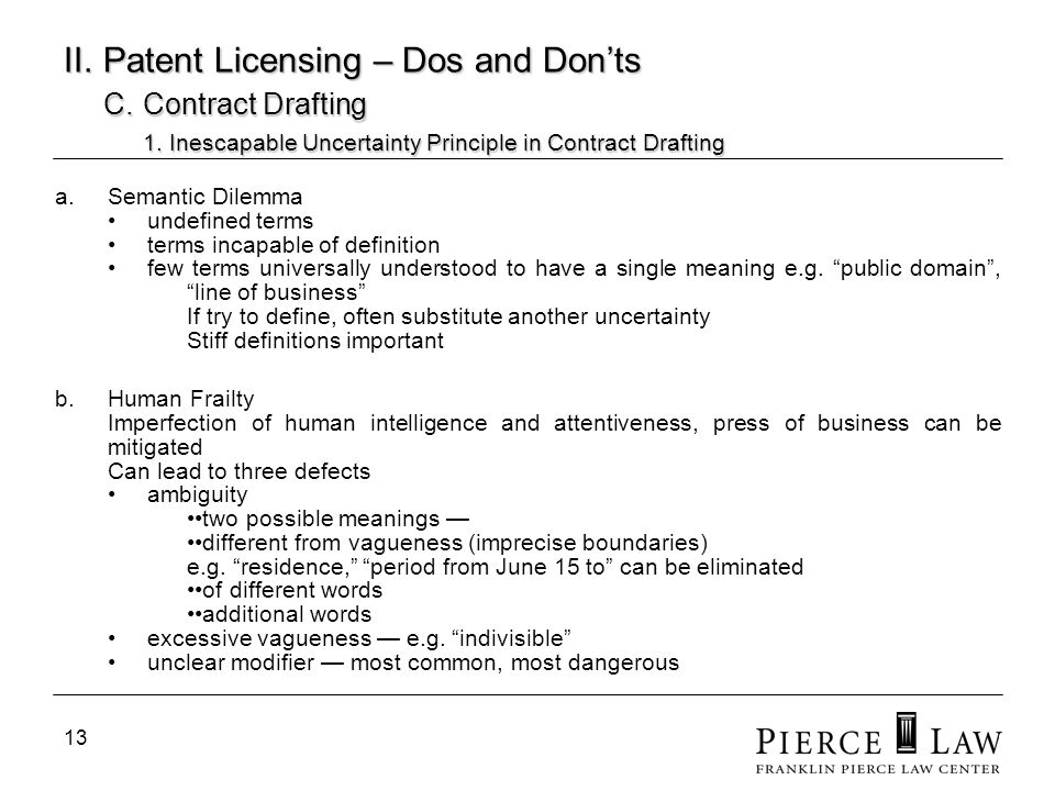 13 II. Patent Licensing – Dos and Donts C. Contract Drafting 1. Inescapable Uncertainty Principle in Contract Drafting a.Semantic Dilemma undefined te