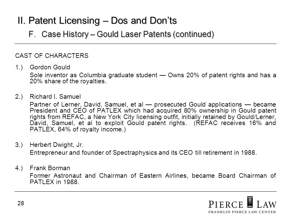28 II. Patent Licensing – Dos and Donts F. Case History – Gould Laser Patents (continued) CAST OF CHARACTERS 1.)Gordon Gould Sole inventor as Columbia
