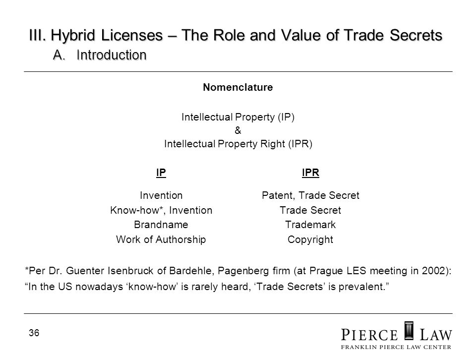 36 III. Hybrid Licenses – The Role and Value of Trade Secrets A.Introduction Nomenclature Intellectual Property (IP) & Intellectual Property Right (IP
