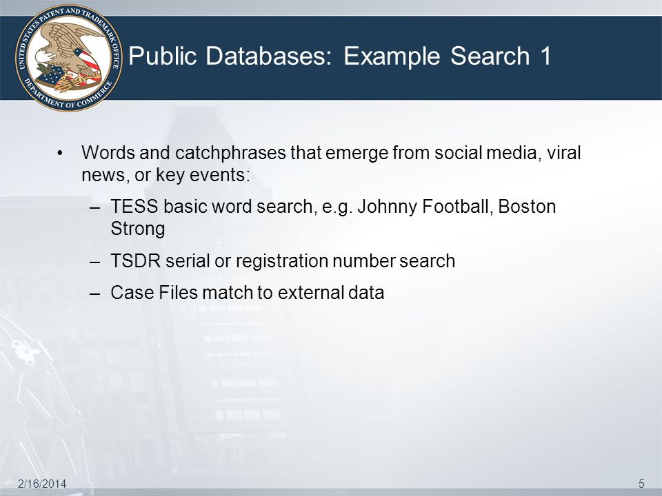 Public Databases: Example Search 1 2/16/20145 Words and catchphrases that emerge from social media, viral news, or key events: –TESS basic word search, e.g.