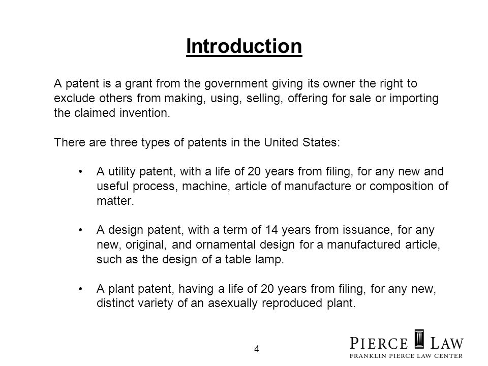 4 Introduction A patent is a grant from the government giving its owner the right to exclude others from making, using, selling, offering for sale or importing the claimed invention.