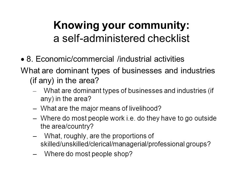 Knowing your community: a self-administered checklist 8.