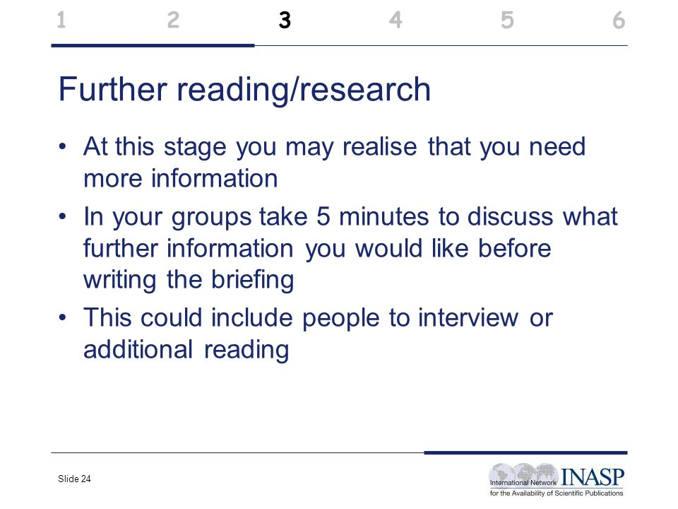 Slide 24 Further reading/research At this stage you may realise that you need more information In your groups take 5 minutes to discuss what further i