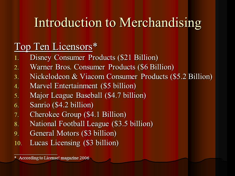 Introduction to Merchandising Top Ten Licensors* 1.