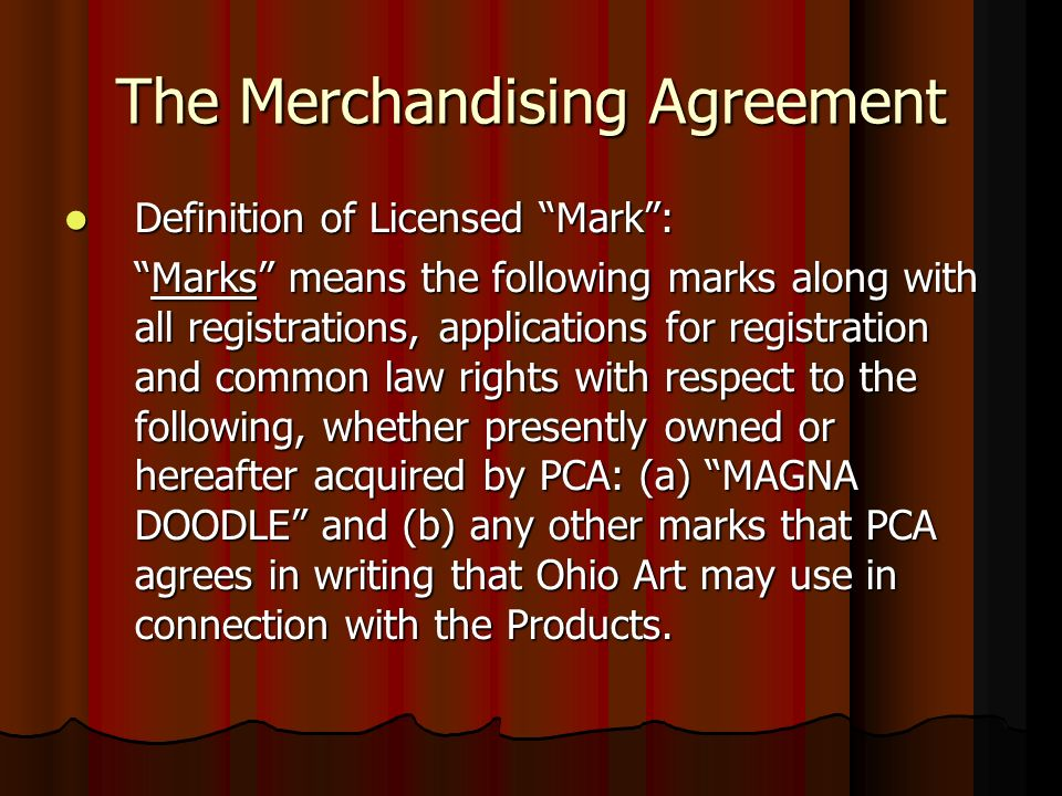 The Merchandising Agreement Definition of Licensed Mark: Definition of Licensed Mark: Marks means the following marks along with all registrations, ap