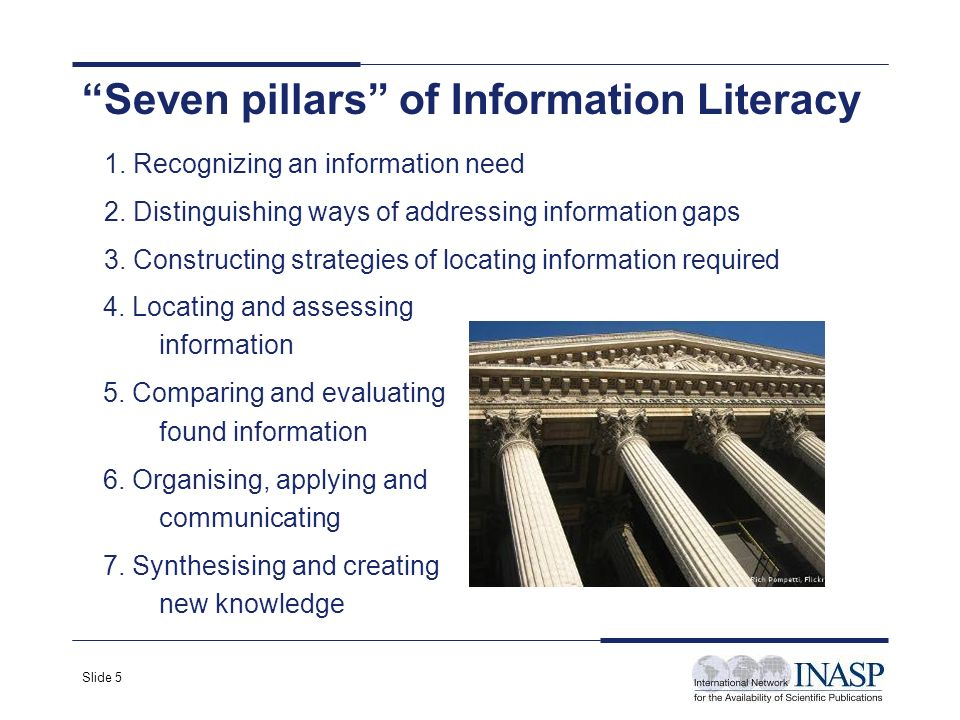 Slide 5 Seven pillars of Information Literacy 4. Locating and assessing information 5.