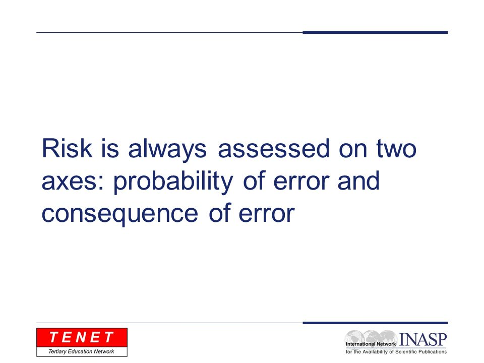 Risk is always assessed on two axes: probability of error and consequence of error