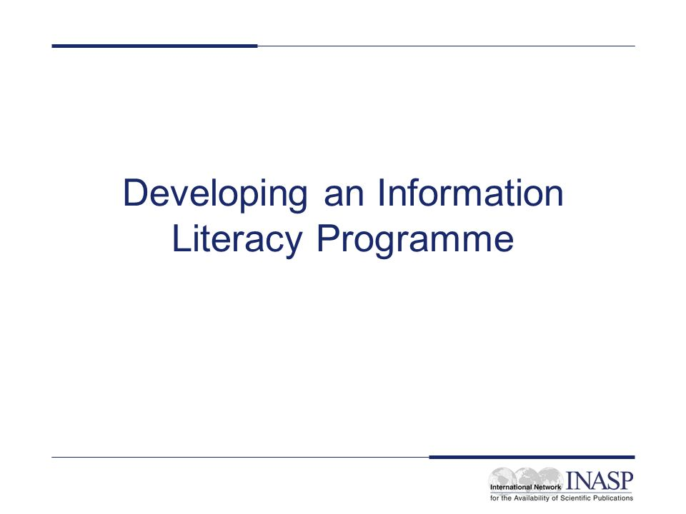 Developing an Information Literacy Programme