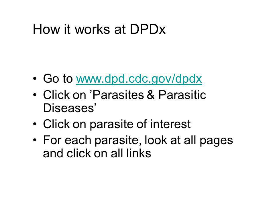 How it works at DPDx Go to www.dpd.cdc.gov/dpdxwww.dpd.cdc.gov/dpdx Click on Parasites & Parasitic Diseases Click on parasite of interest For each parasite, look at all pages and click on all links