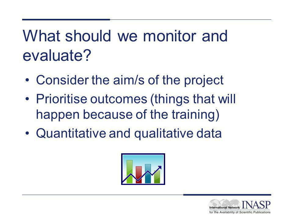 What should we monitor and evaluate? Consider the aim/s of the project Prioritise outcomes (things that will happen because of the training) Quantitat