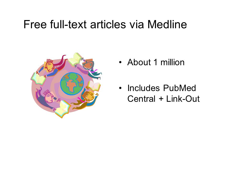 Free full-text articles via Medline About 1 million Includes PubMed Central + Link-Out