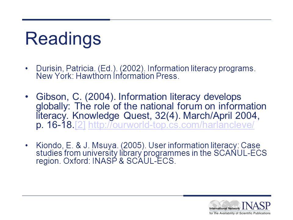 Readings Durisin, Patricia.(Ed.). (2002). Information literacy programs.