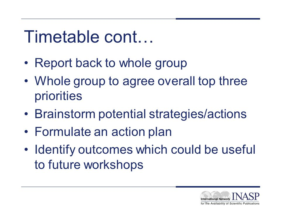 Timetable cont… Report back to whole group Whole group to agree overall top three priorities Brainstorm potential strategies/actions Formulate an action plan Identify outcomes which could be useful to future workshops