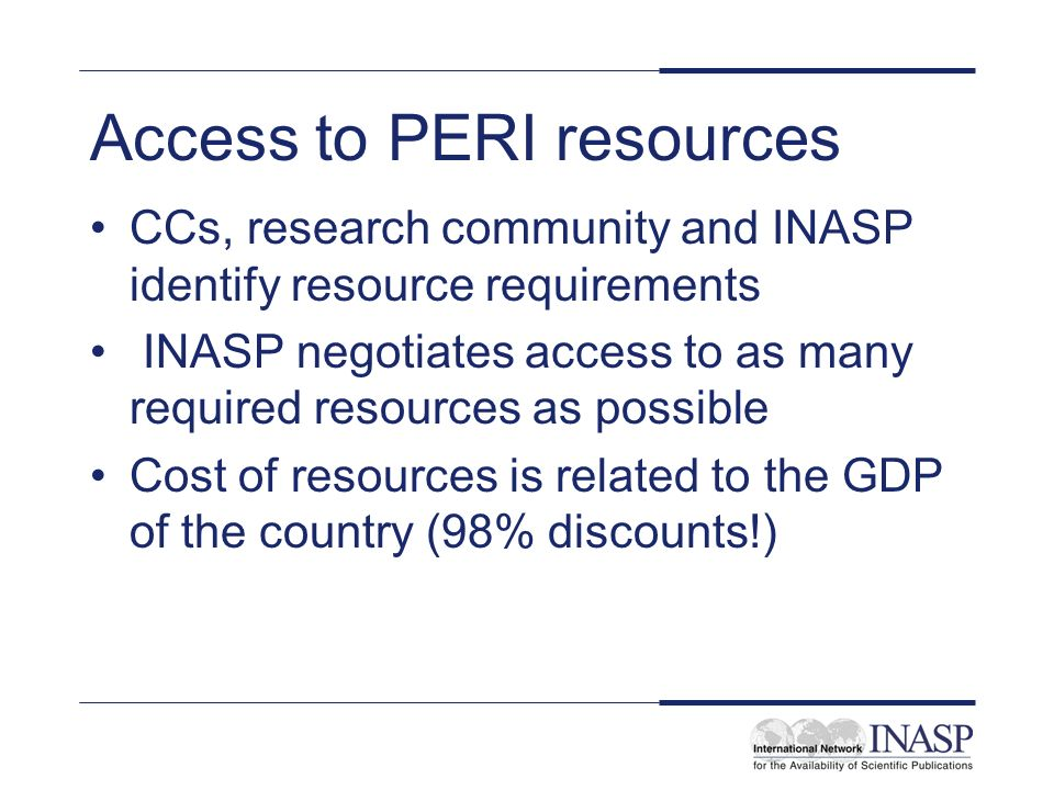Access to PERI resources CCs, research community and INASP identify resource requirements INASP negotiates access to as many required resources as possible Cost of resources is related to the GDP of the country (98% discounts!)
