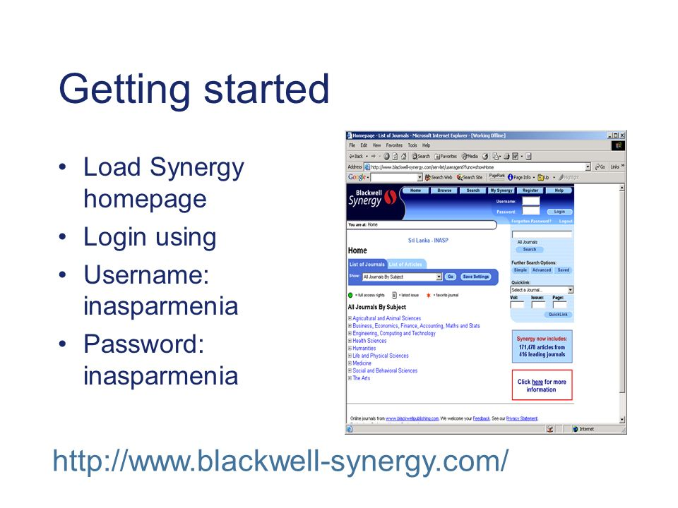 Getting started Load Synergy homepage Login using Username: inasparmenia Password: inasparmenia