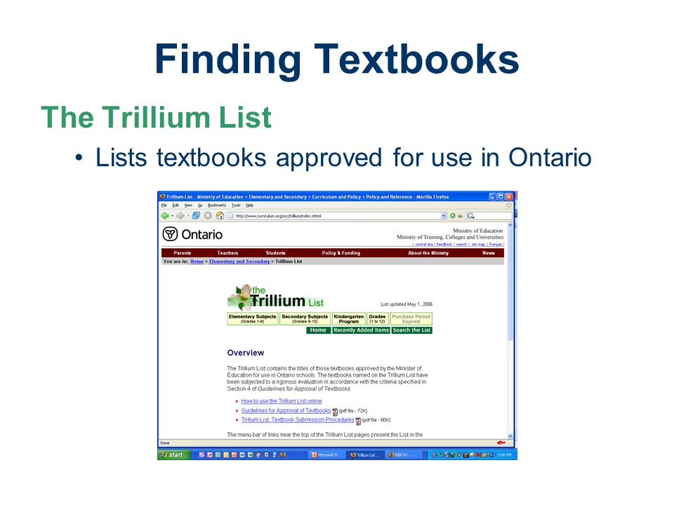 Finding Textbooks The Trillium List Lists textbooks approved for use in Ontario