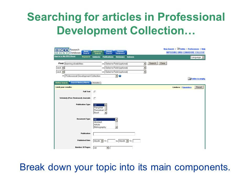 Searching for articles in Professional Development Collection… Break down your topic into its main components.