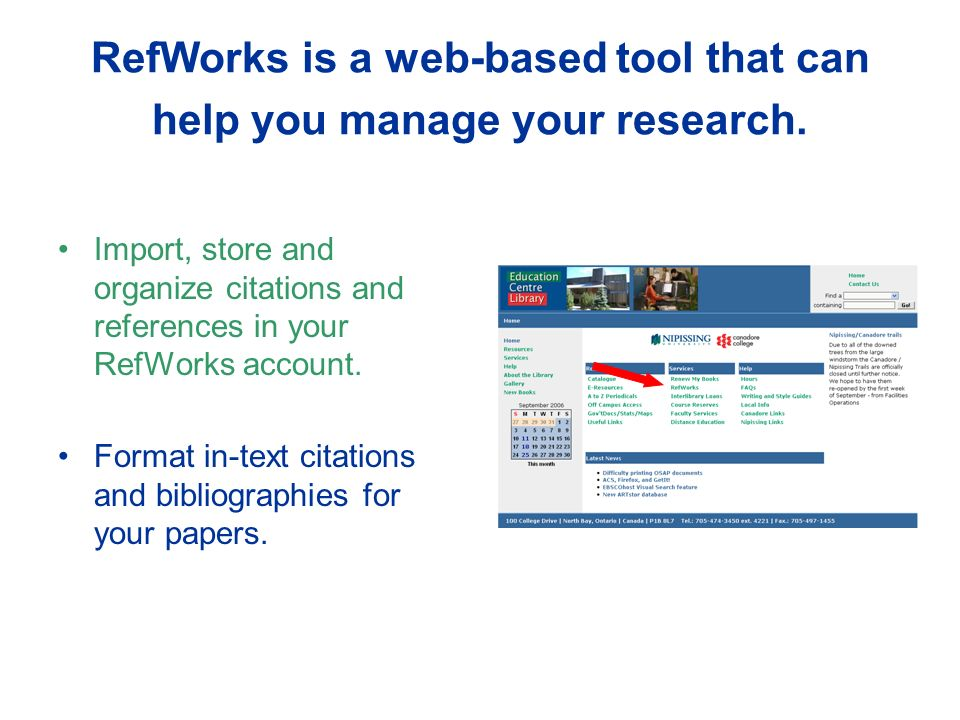RefWorks is a web-based tool that can help you manage your research.
