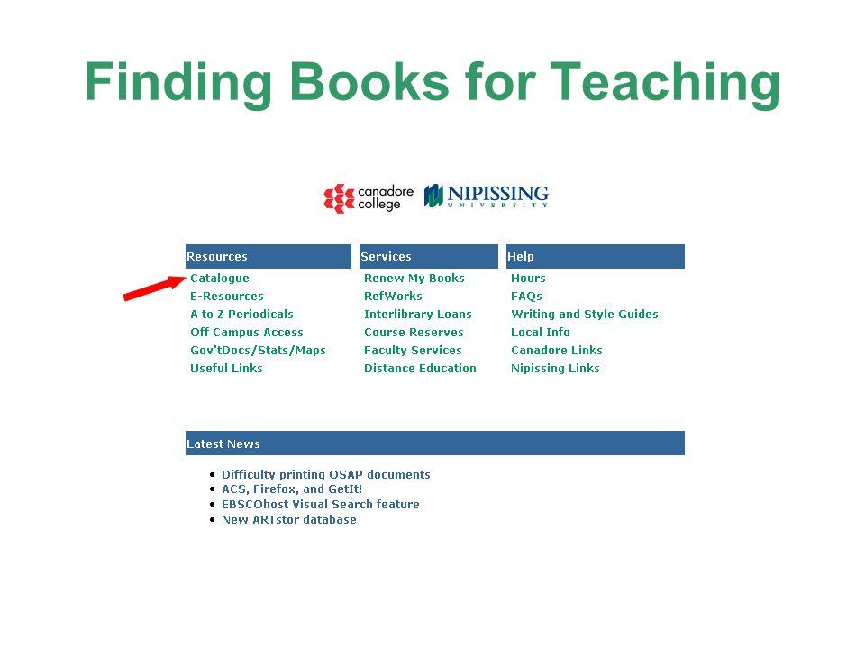 Finding Books for Teaching