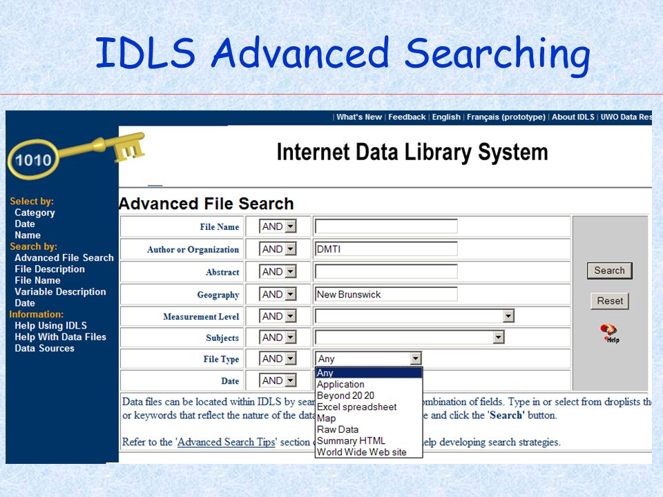 IDLS Advanced Searching