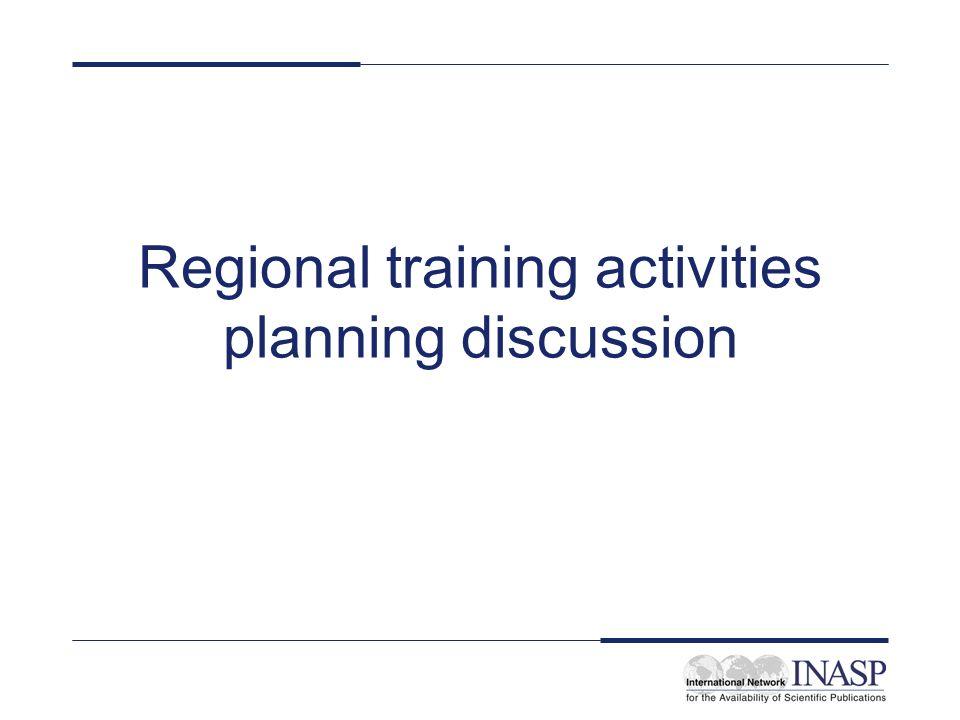 Regional training activities planning discussion