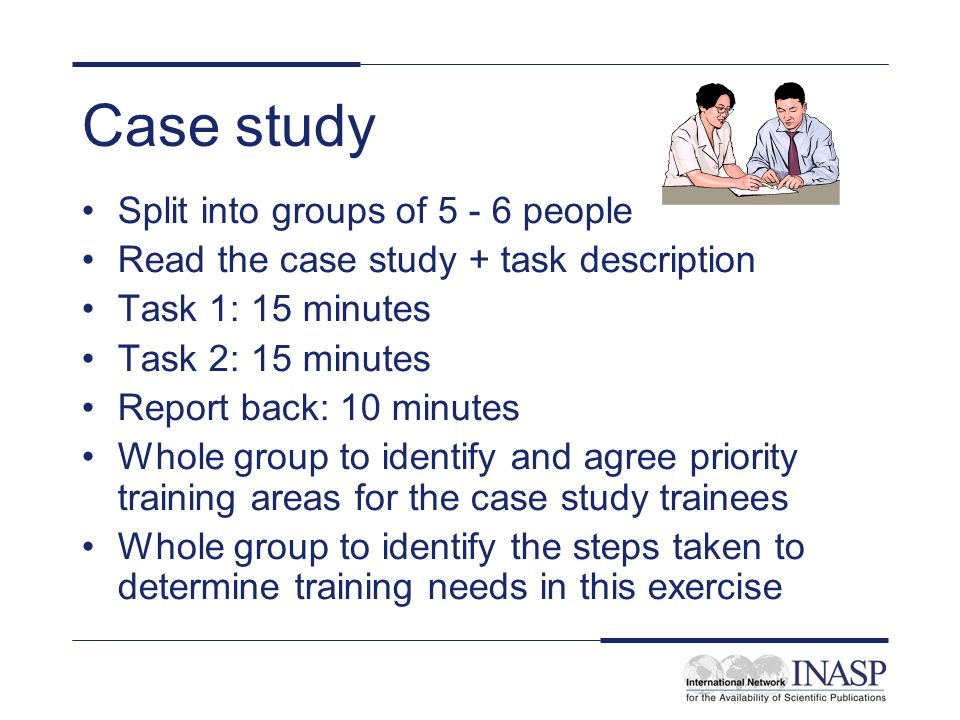 Reflection on case study Was it easy or difficult to determine training needs.