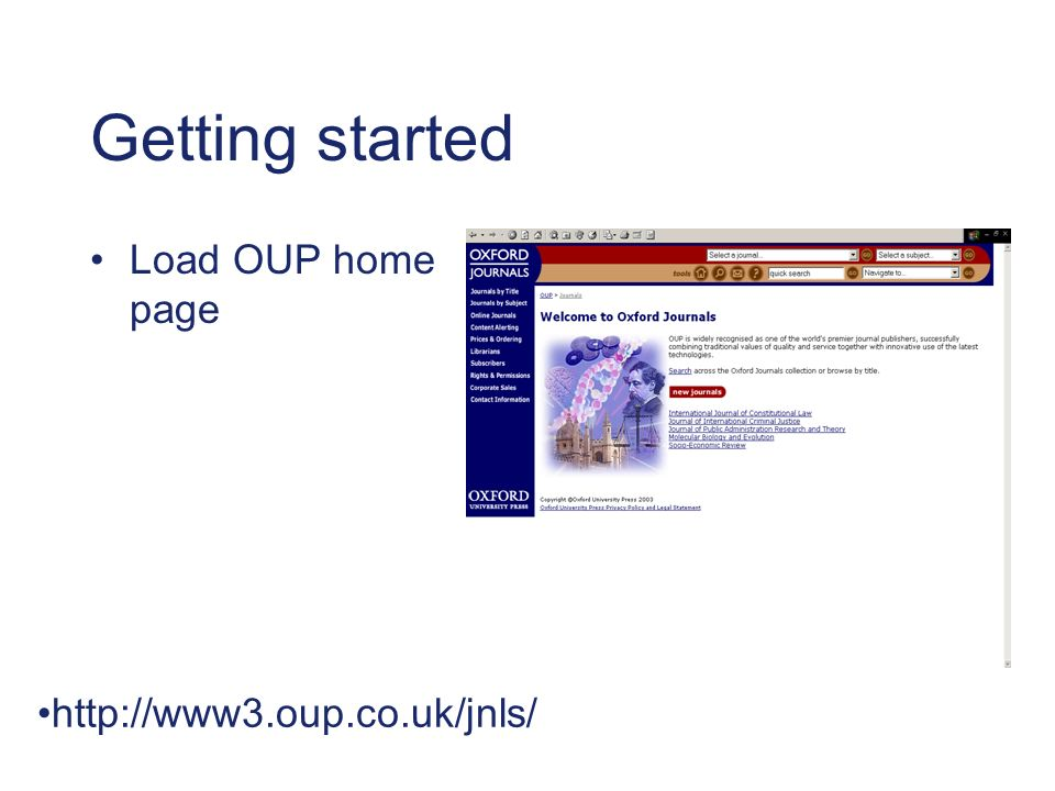 Getting started Load OUP home page