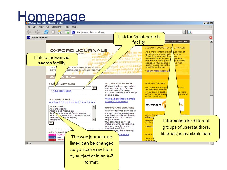 Homepage The way journals are listed can be changed so you can view them by subject or in an A-Z format. Information for different groups of user (aut