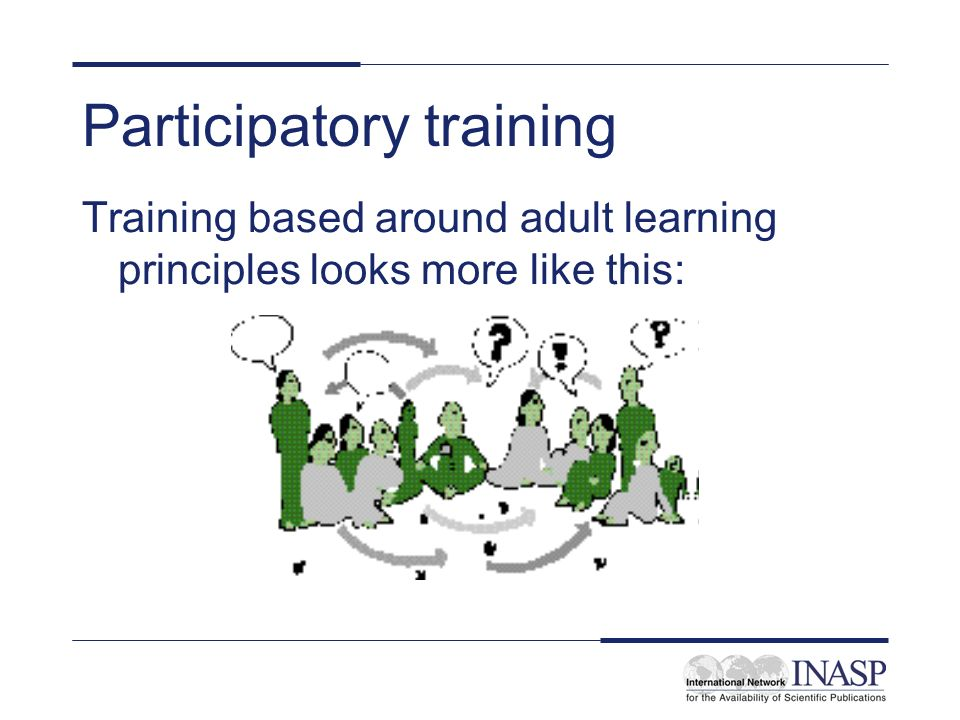 Participatory training Training based around adult learning principles looks more like this: