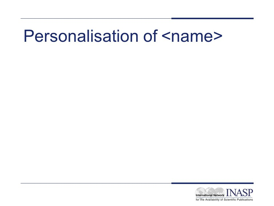 Personalisation of