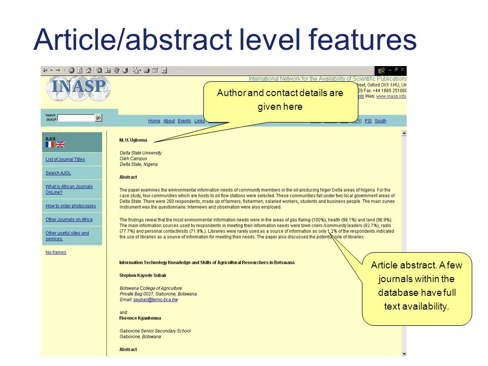 Article/abstract level features Article abstract.