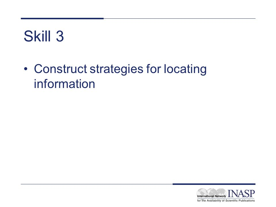 Skill 3 Construct strategies for locating information