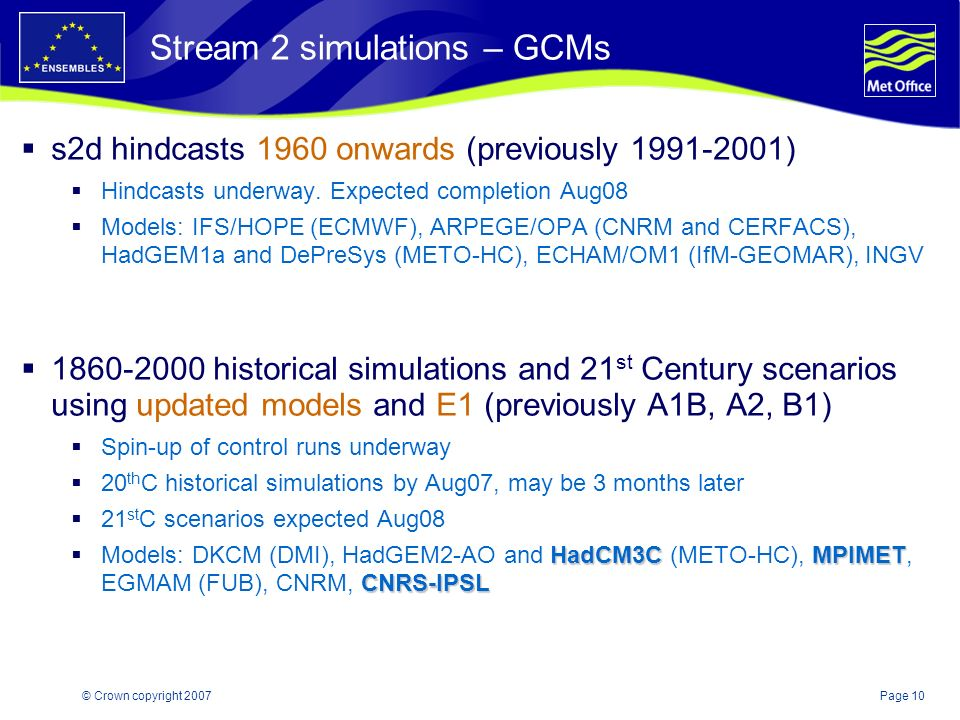 Page 10© Crown copyright 2007 Stream 2 simulations – GCMs s2d hindcasts 1960 onwards (previously 1991-2001) Hindcasts underway.