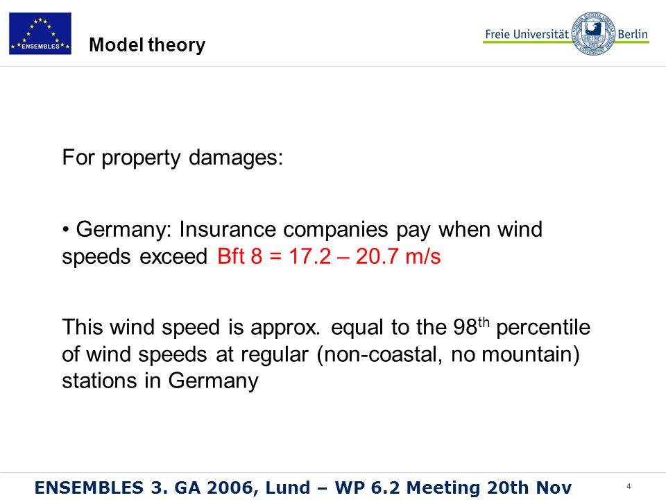 4 ENSEMBLES 3. GA 2006, Lund – WP 6.2 Meeting 20th Nov This wind speed is approx. equal to the 98 th percentile of wind speeds at regular (non-coastal