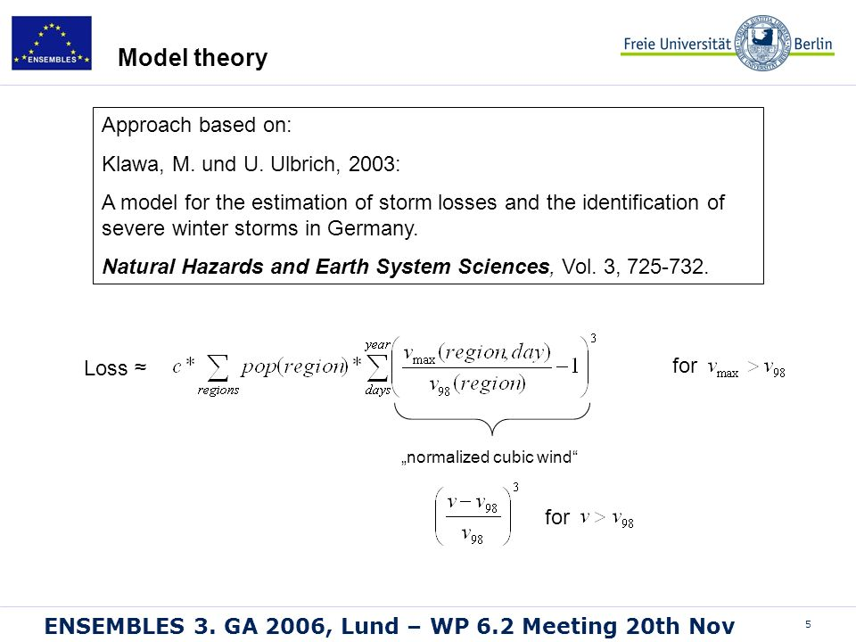 5 ENSEMBLES 3. GA 2006, Lund – WP 6.2 Meeting 20th Nov Model theory Loss for normalized cubic wind for Approach based on: Klawa, M. und U. Ulbrich, 20