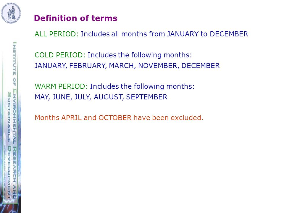 Definition of terms ALL PERIOD: Includes all months from JANUARY to DECEMBER COLD PERIOD: Includes the following months: JANUARY, FEBRUARY, MARCH, NOVEMBER, DECEMBER WARM PERIOD: Includes the following months: MAY, JUNE, JULY, AUGUST, SEPTEMBER Months APRIL and OCTOBER have been excluded.