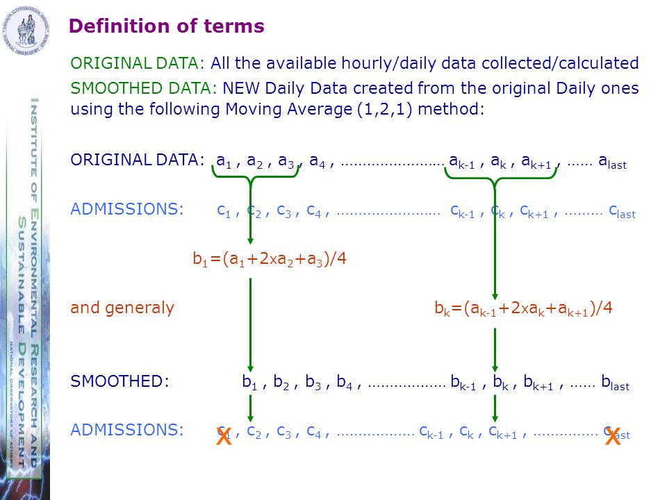 Definition of terms ORIGINAL DATA: All the available hourly/daily data collected/calculated SMOOTHED DATA: NEW Daily Data created from the original Daily ones using the following Moving Average (1,2,1) method: ORIGINAL DATA: a 1, a 2, a 3, a 4, …………………… a k-1, a k, a k+1, …… a last ADMISSIONS: c 1, c 2, c 3, c 4, …………………… c k-1, c k, c k+1, ……… c last b 1 =(a 1 +2 x a 2 +a 3 )/4 and generaly b k =(a k-1 +2 x a k +a k+1 )/4 SMOOTHED: b 1, b 2, b 3, b 4, ……………… b k-1, b k, b k+1, …… b last ADMISSIONS: c 1, c 2, c 3, c 4, ……………… c k-1, c k, c k+1, …………… c last xx