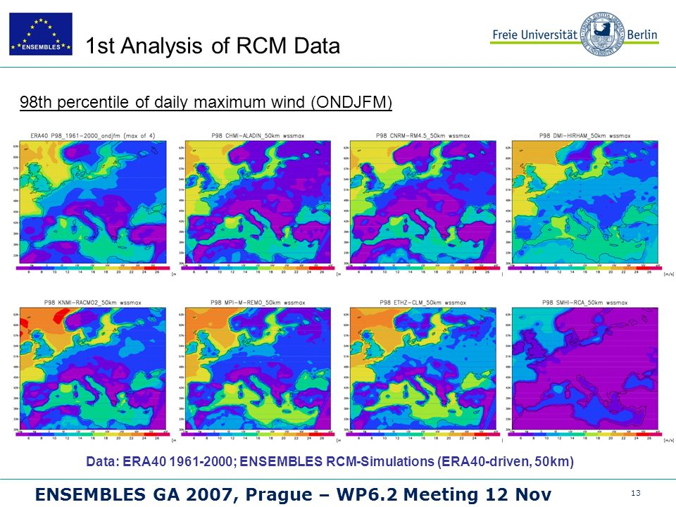 13 ENSEMBLES GA 2007, Prague – WP6.2 Meeting 12 Nov 1st Analysis of RCM Data 98th percentile of daily maximum wind (ONDJFM) Data: ERA40 1961-2000; ENSEMBLES RCM-Simulations (ERA40-driven, 50km)