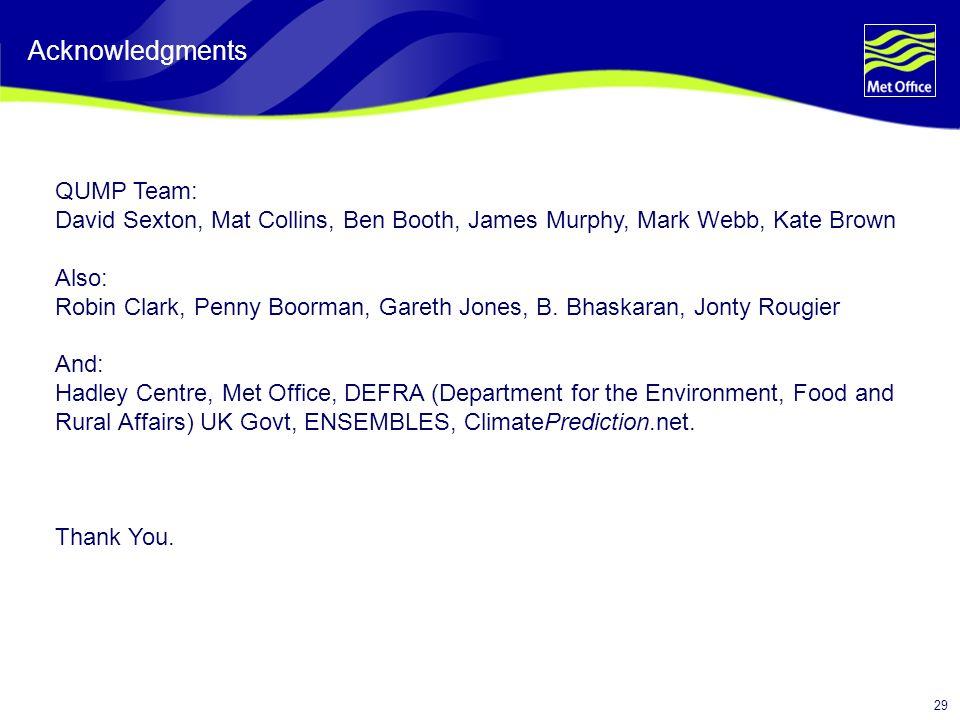 29 Acknowledgments QUMP Team: David Sexton, Mat Collins, Ben Booth, James Murphy, Mark Webb, Kate Brown Also: Robin Clark, Penny Boorman, Gareth Jones, B.