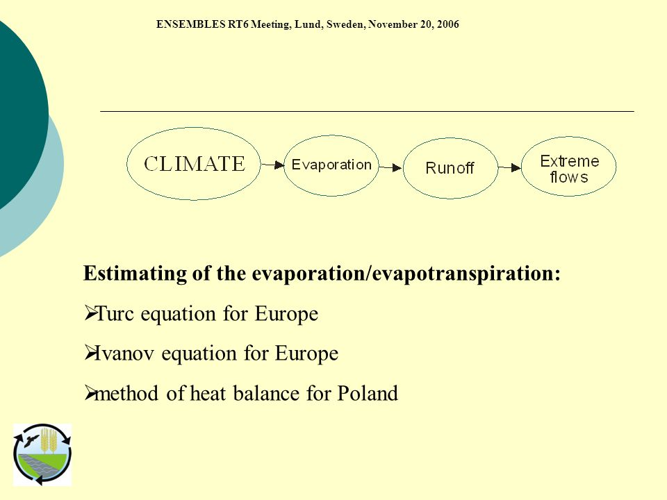 Estimating of the evaporation/evapotranspiration: Turc equation for Europe Ivanov equation for Europe method of heat balance for Poland