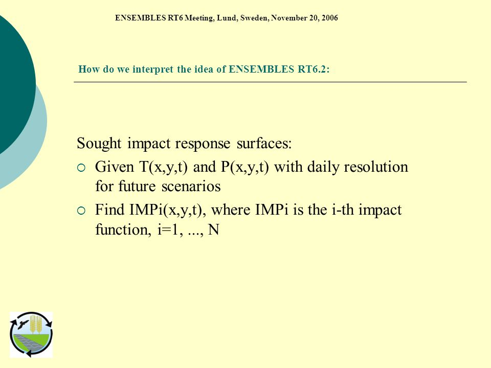 How do we interpret the idea of ENSEMBLES RT6.2: Sought impact response surfaces: Given T(x,y,t) and P(x,y,t) with daily resolution for future scenarios Find IMPi(x,y,t), where IMPi is the i-th impact function, i=1,..., N ENSEMBLES RT6 Meeting, Lund, Sweden, November 20, 2006