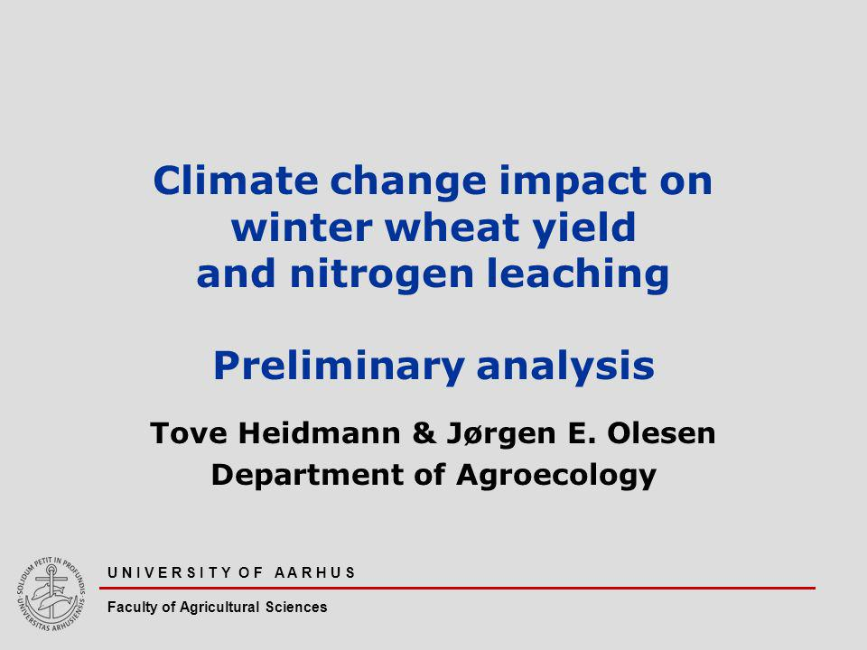 U N I V E R S I T Y O F A A R H U S Faculty of Agricultural Sciences Climate change impact on winter wheat yield and nitrogen leaching Preliminary analysis Tove Heidmann & Jørgen E.