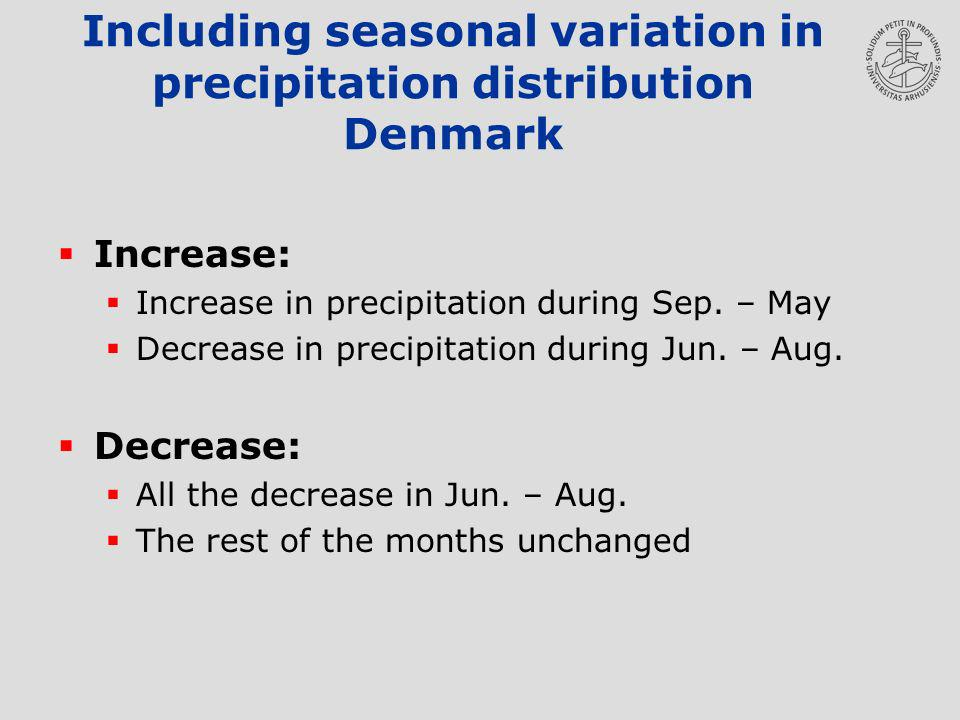 Including seasonal variation in precipitation distribution Denmark Increase: Increase in precipitation during Sep.
