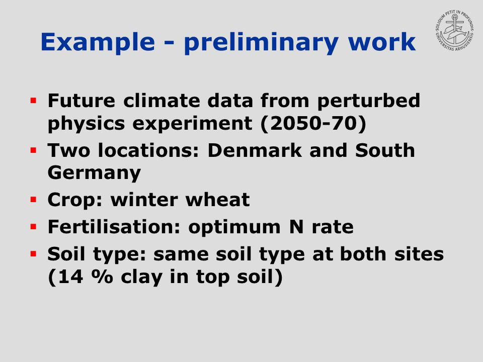 Example - preliminary work Future climate data from perturbed physics experiment (2050-70) Two locations: Denmark and South Germany Crop: winter wheat Fertilisation: optimum N rate Soil type: same soil type at both sites (14 % clay in top soil)